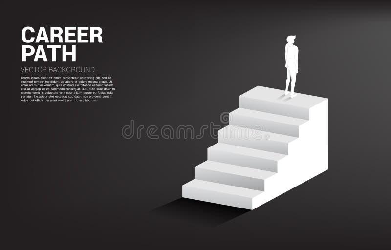 Kontur av affärsmananseendet på trappan stock illustrationer