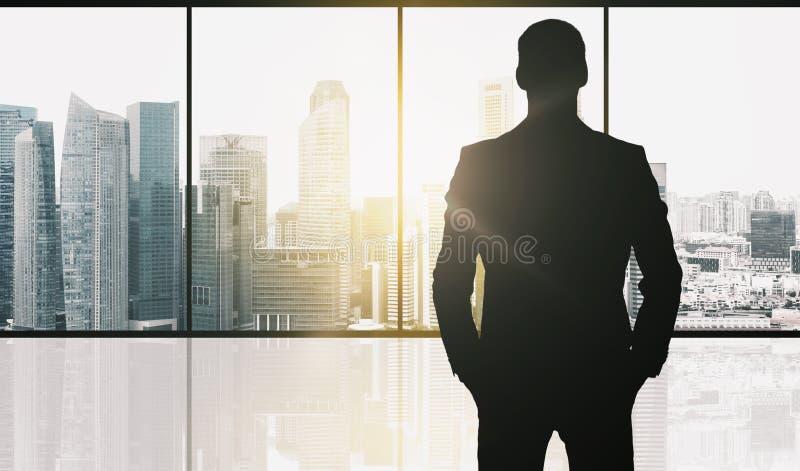 Kontur av affärsmannen över kontorsbakgrund vektor illustrationer