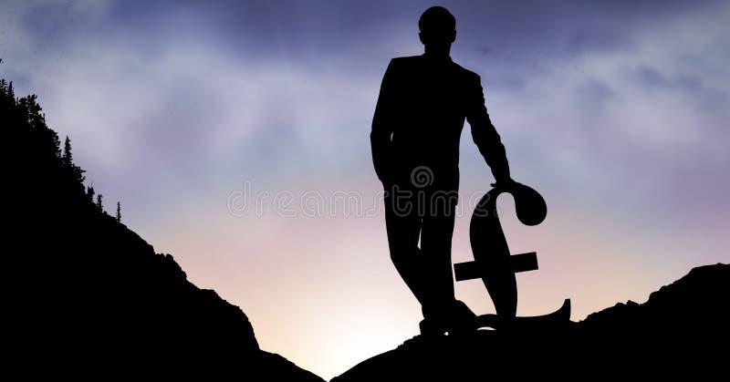 Kontur av affärsmannen med pundtecknet på berget fotografering för bildbyråer