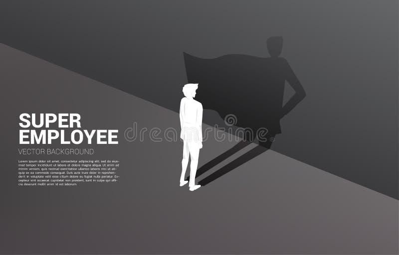 Kontur av affärsmannen och hans skugga av superheroen royaltyfri illustrationer