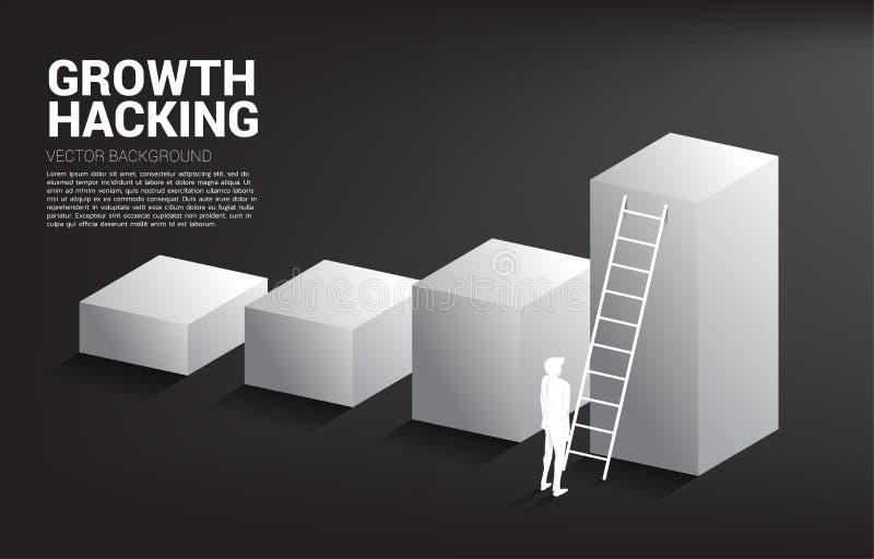 Kontur av affärsmannen som är klar att flytta sig upp på stånggraf med stegen royaltyfri illustrationer
