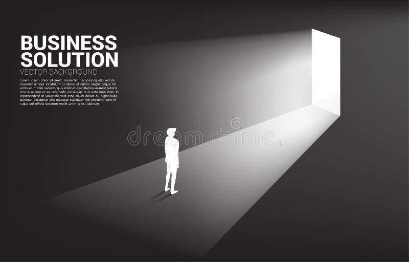 Kontur av affärsmannen som framme står av utgångsdörr royaltyfri illustrationer