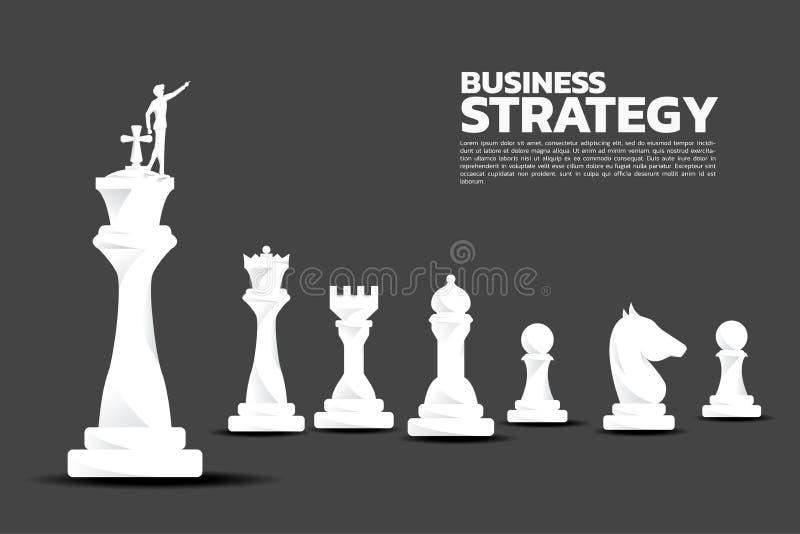 Kontur av affärsmanpunkt framåtriktat med schackstycket vektor illustrationer