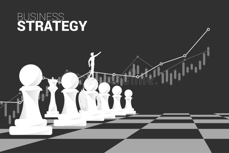 Kontur av affärsmanpunkt framåtriktat med schackstycket och tillväxtgrafbakgrund vektor illustrationer
