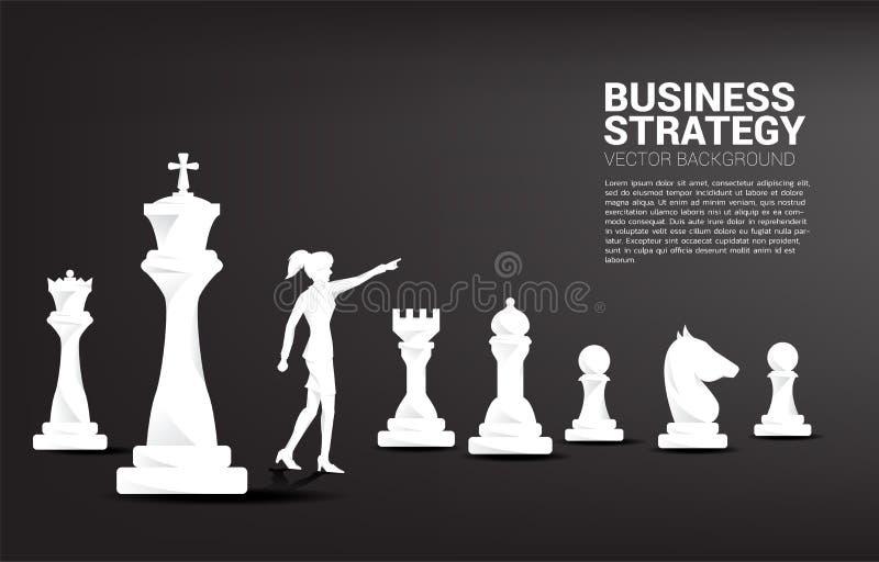 Kontur av aff?rsmanpunkt fram?triktat med schackstycket royaltyfri illustrationer