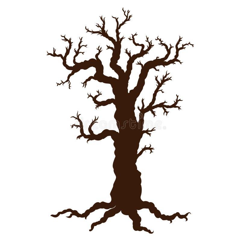 Kontur av allhelgonaaftonträdet, kalt spöklikt läskigt allhelgonaaftonträd royaltyfri illustrationer
