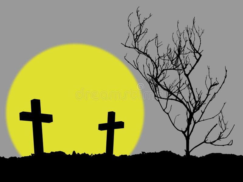 Kontur av arga två och det döda trädet på kullen med fullmånen royaltyfri illustrationer