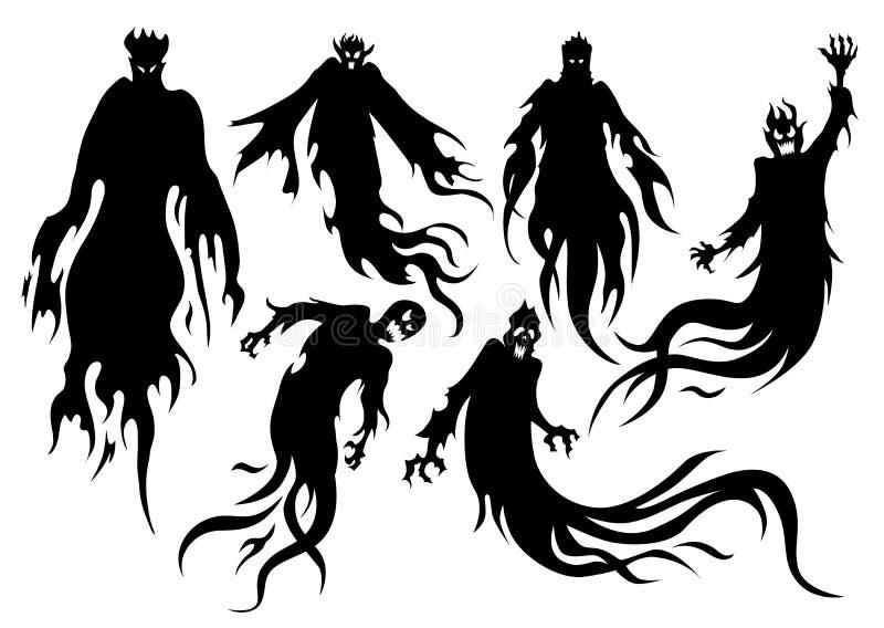 Kontur av att flyga ond ande i vektorstilsamling stock illustrationer
