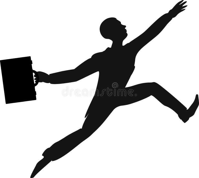 Kontur av att hoppa mannen med attachefallet stock illustrationer