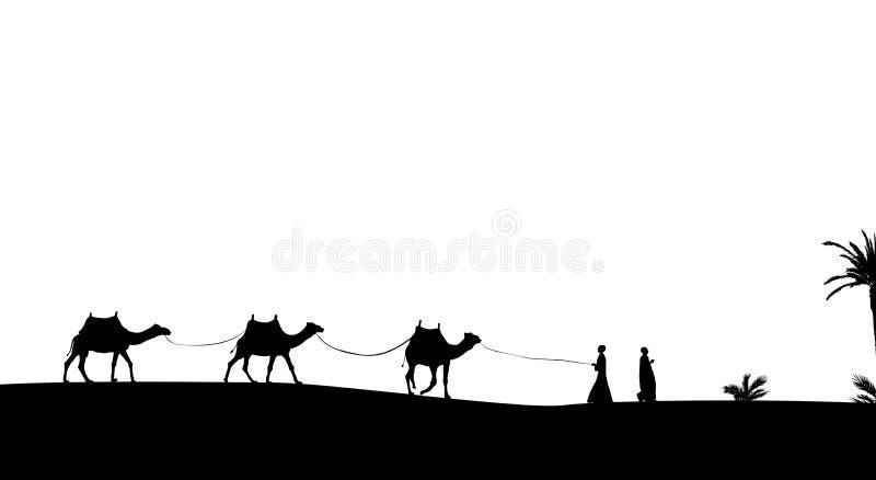 Kontur av att irra för för husvagnmit-folk och kamel stock illustrationer