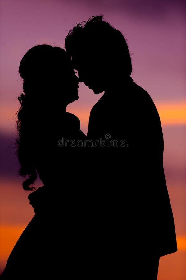 Kontur av att omfamna den asiatiska bruden och brudgummen på solnedgången arkivfoto