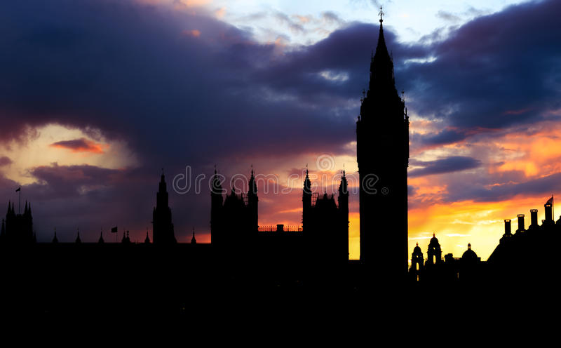 Kontur av Big Ben, London arkivfoto