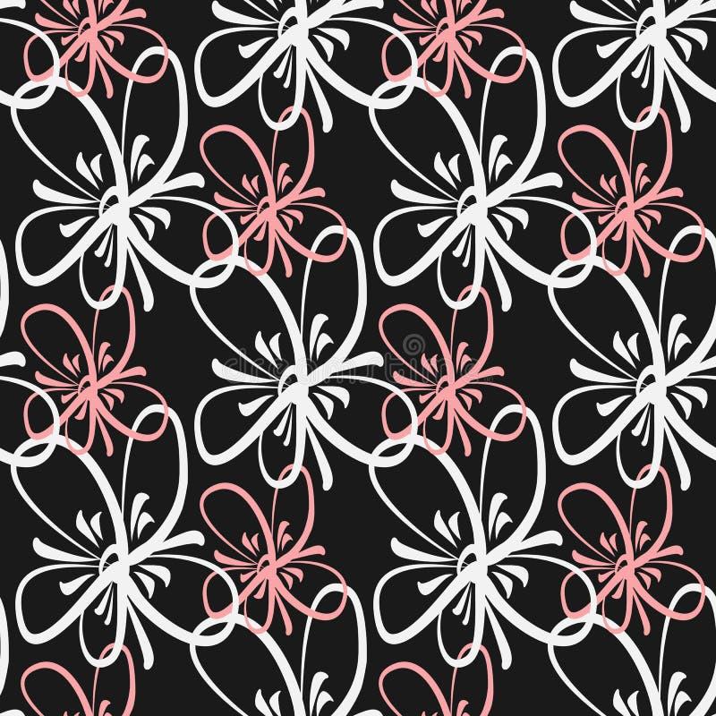 Kontur av blommor som målas med en fin borste Seamless Patter royaltyfri illustrationer
