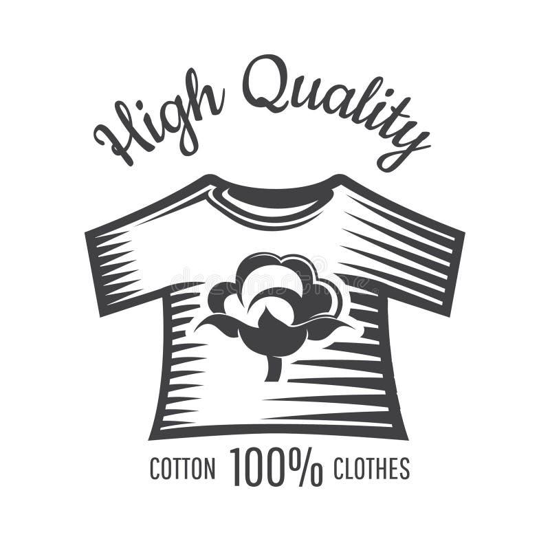 Kontur av bomullsväxten i mitten av skjortan som isoleras på vit Logo för textilen, tyg, torkduk royaltyfri illustrationer