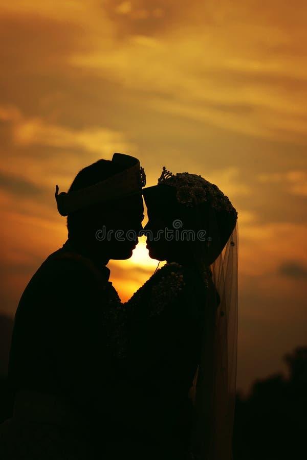Kontur av brölloppar med solnedgången royaltyfria foton