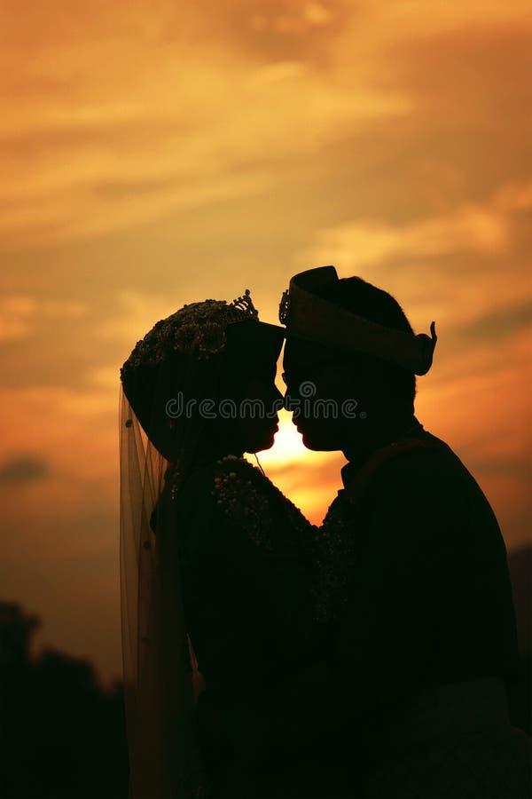 Kontur av brölloppar med solnedgången royaltyfri foto