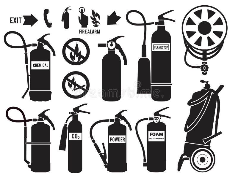 Kontur av brandsläckaren Uppsättning för bilder för vektor för skum för flammaskyddssymboler monokrom av utrustning för brandstat stock illustrationer
