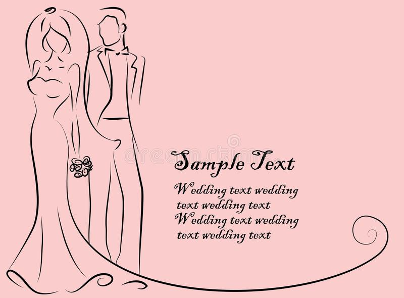 Kontur av bruden och brudgummen vektor illustrationer