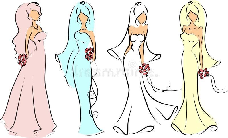 Kontur av bruden och brudgummen, bakgrund royaltyfri illustrationer