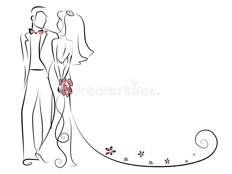 Kontur av bruden och brudgummen, bakgrund vektor illustrationer