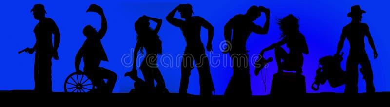 Kontur av cowboyer och cowgirlar i en blå himmel arkivbilder