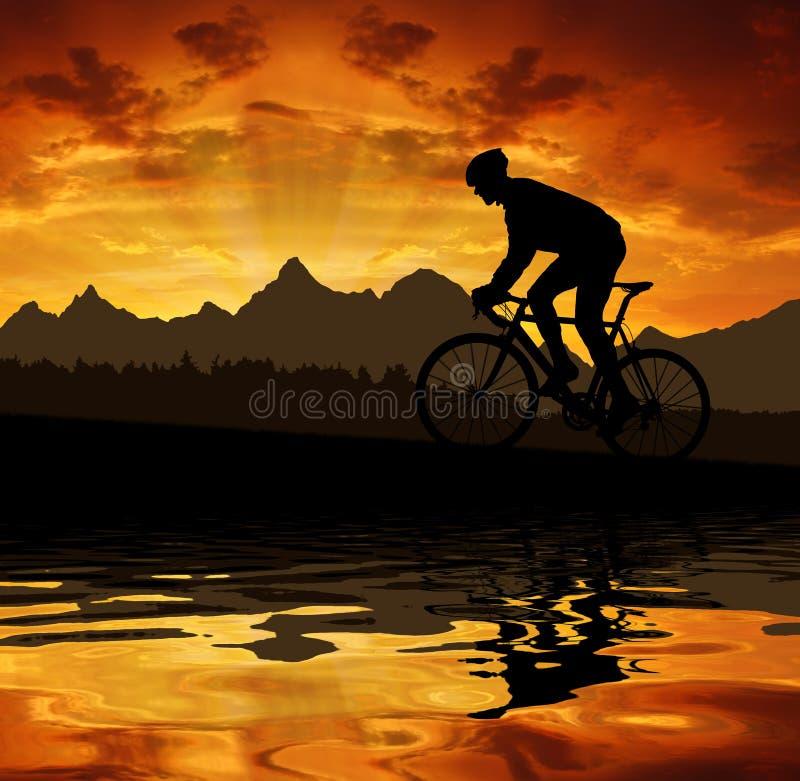 Kontur av cyklisten royaltyfri illustrationer