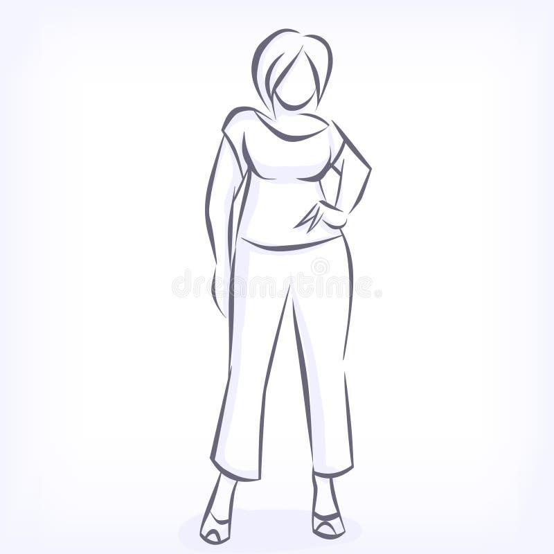 Kontur av den överviktiga eleganta kvinnan stock illustrationer
