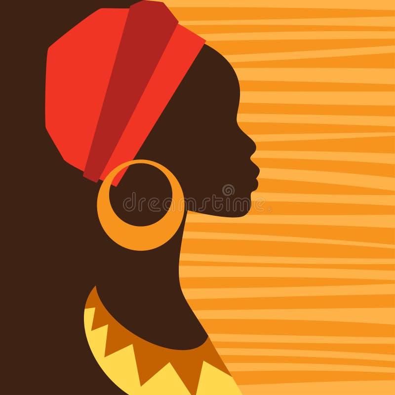 Kontur av den afrikanska flickan i profil med vektor illustrationer