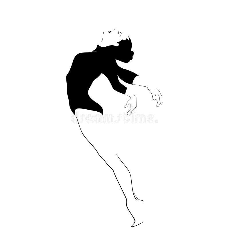 Kontur av den eleganta ballerina Dansaresymbol rörelsetecken symbol logo vektor illustrationer