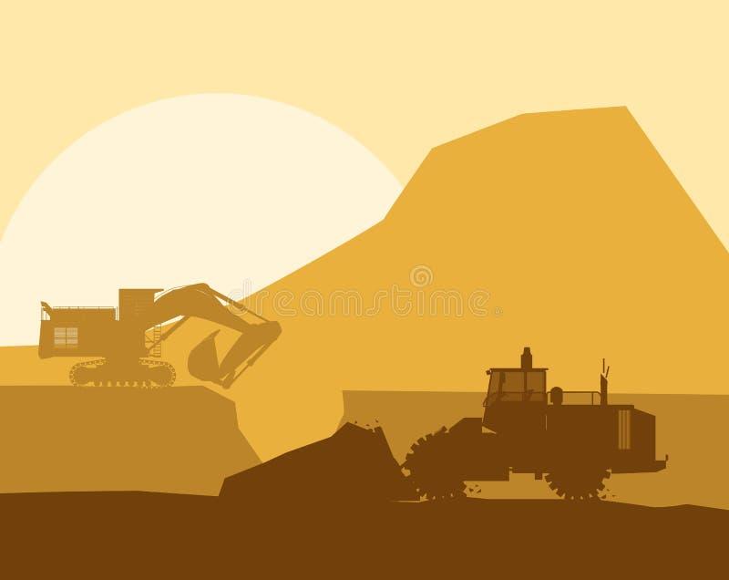 Kontur av den funktionsdugliga bulldozern på bakgrund royaltyfri illustrationer