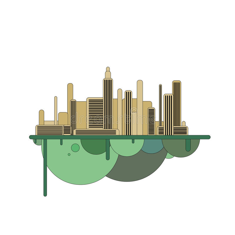Kontur av den futuristiska staden på flygön stock illustrationer