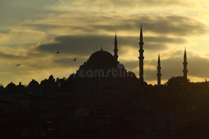Kontur av den gamla staden - Sultanahmet mosk?er i inst?llningssol i Istanbul Turkiet royaltyfri foto