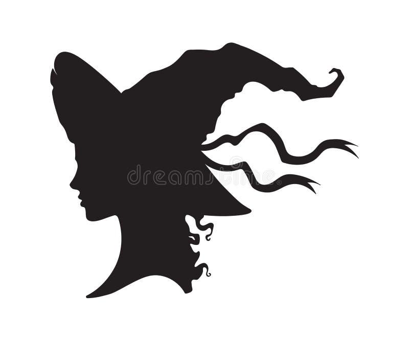 Kontur av den härliga lockiga häxaflickan i pointy hatt i profil isolerad utdragen vektorillustration för hand stock illustrationer