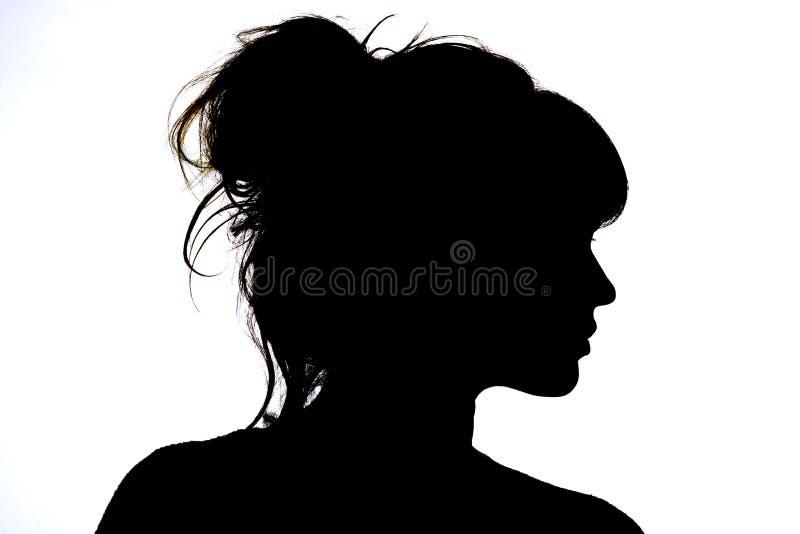 Kontur av den härliga profilen av skönhet och mode för kvinnaframsidabegrepp royaltyfri fotografi