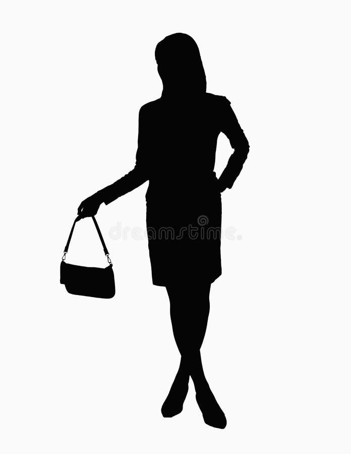 Kontur av den hållande handväskan för affärskvinna. royaltyfria foton