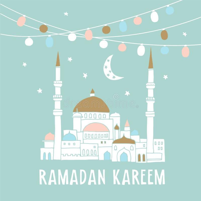 Kontur av den hand drog moskén med girlander av ljusa kulor, måne, stjärnor, vektorillustrationbakgrund för muslim stock illustrationer