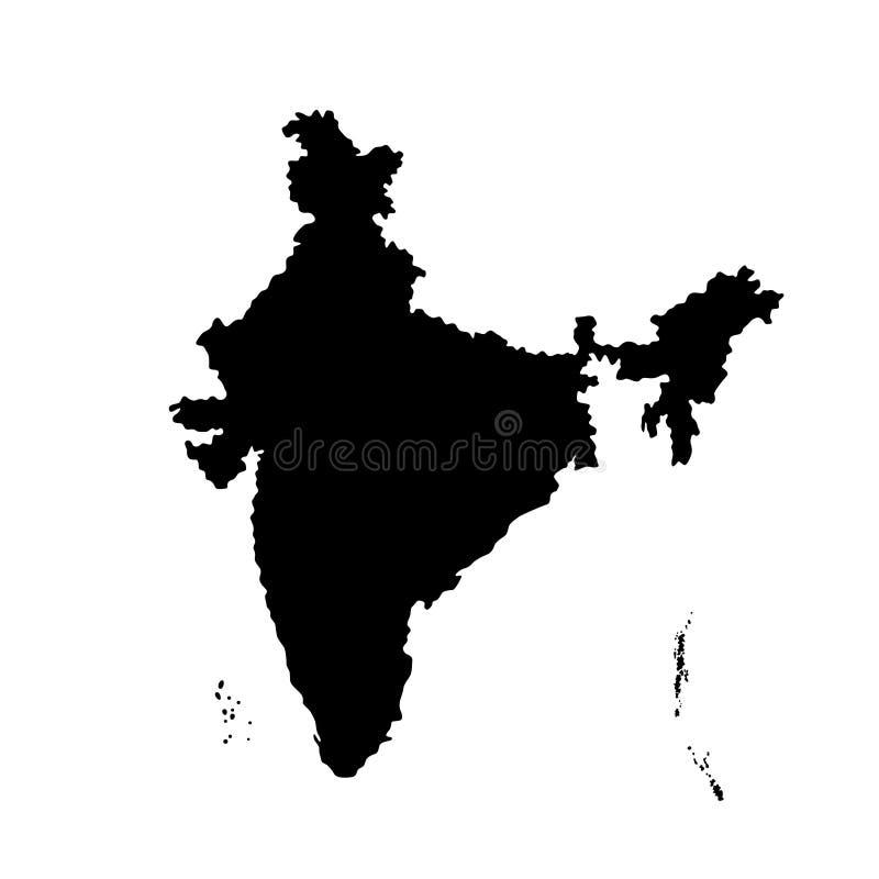 Kontur av den Indien översiktsillustrationen vektor illustrationer