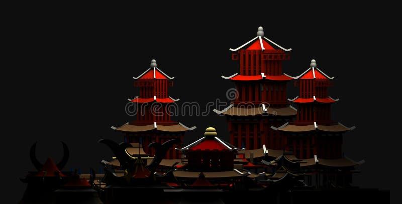 Kontur av den kinesiska tolkningen för forntida stad 3d för byggnadspagod royaltyfri illustrationer