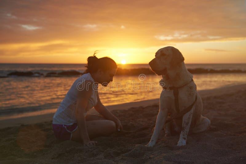 Kontur av den labrador hunden med kvinnan royaltyfri foto