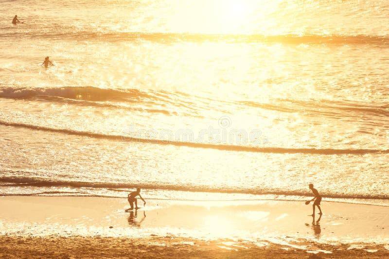 Kontur av den lyckliga familjen som som spelar med bollen på stranden royaltyfri bild