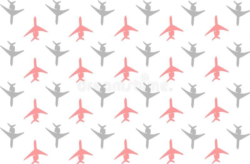 Kontur av den röda gråa uppsättningen för passagerareflygplan av symbolsluftdesig stock illustrationer