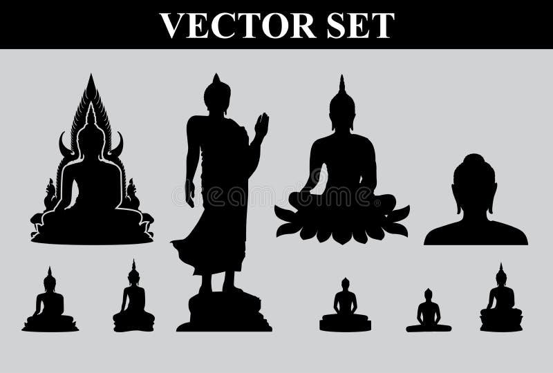 Kontur av den thailändska Buddha royaltyfri illustrationer