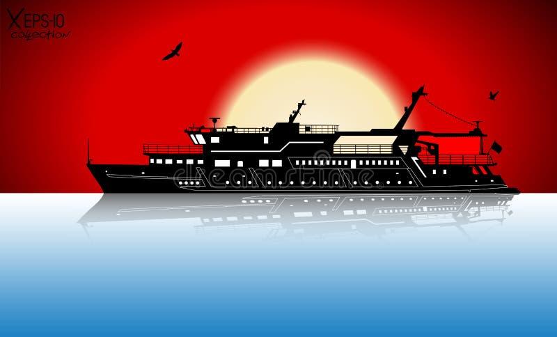 Kontur av den touristic seglingen för nöjefartyg på floden med reflexion vektor illustrationer
