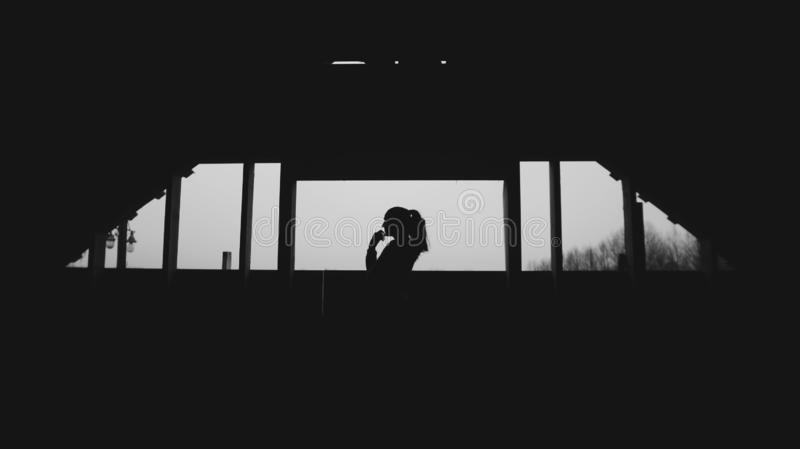 Kontur av den unga härliga flickan i byn Modell på bakgrund av en skogkvinnaflicka framme av fönstret arkivbild