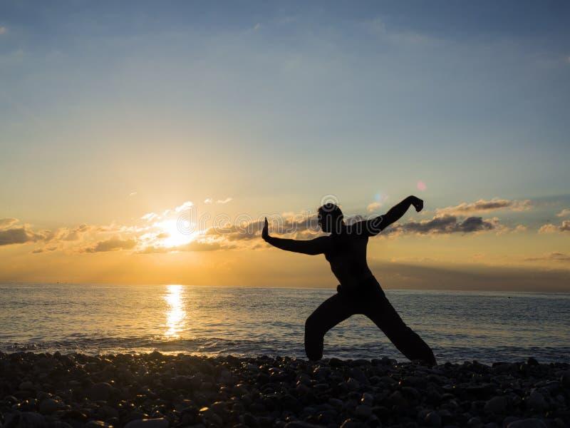 Kontur av den unga manliga krigs- konstnären eller yogaspecialisten på stranden under spektakulär solnedgång royaltyfria bilder