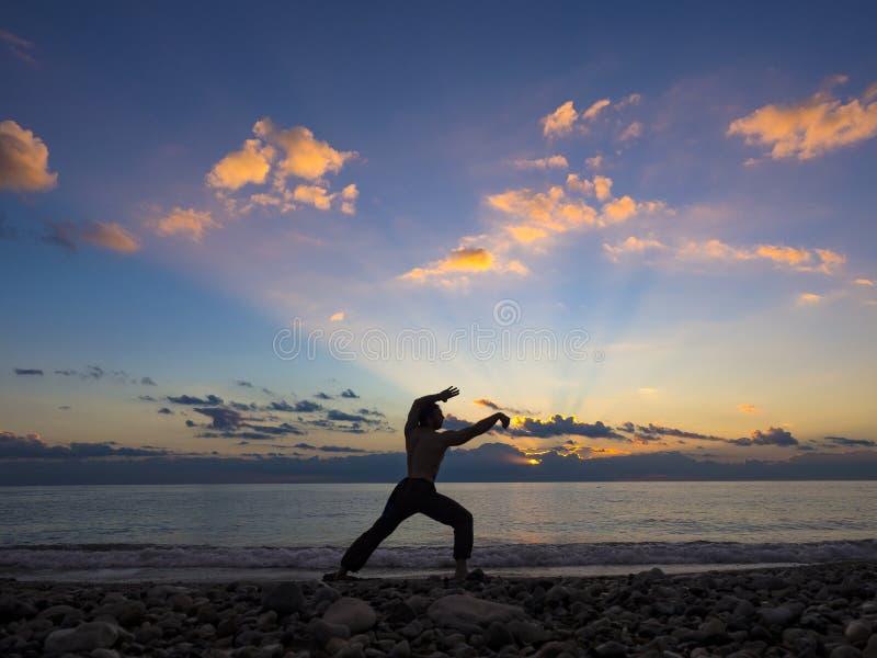 Kontur av den unga manliga yoga- och kampsportspecialisten på stranden under spektakulär solnedgång fotografering för bildbyråer
