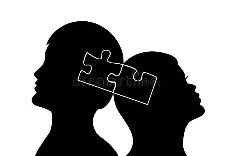 Kontur av den unga mannen och kvinnan som är förälskade med pusslet vektor illustrationer