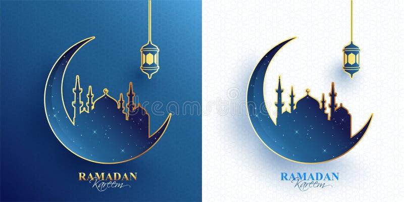 Kontur av den växande månen med moskén på blå och vit islamisk sömlös modellbakgrund vektor illustrationer