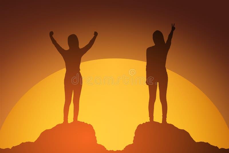 Kontur av den vinnande framgångkvinnan på solnedgången eller soluppgång som upp står och lyfter hennes hand i beröm affärsidé iso vektor illustrationer