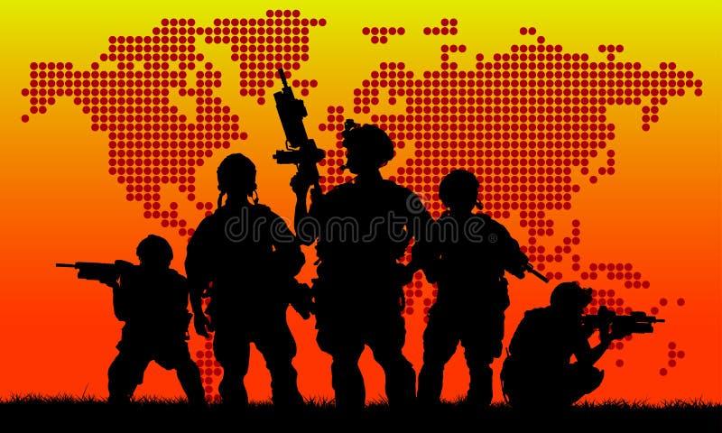 Kontur av det militära laget vektor illustrationer